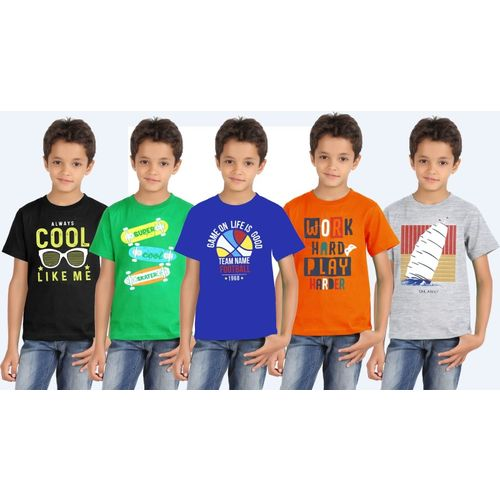 Southtree Boys Printed Cotton Blend T Shirt(Multicolor, Pack of 5)