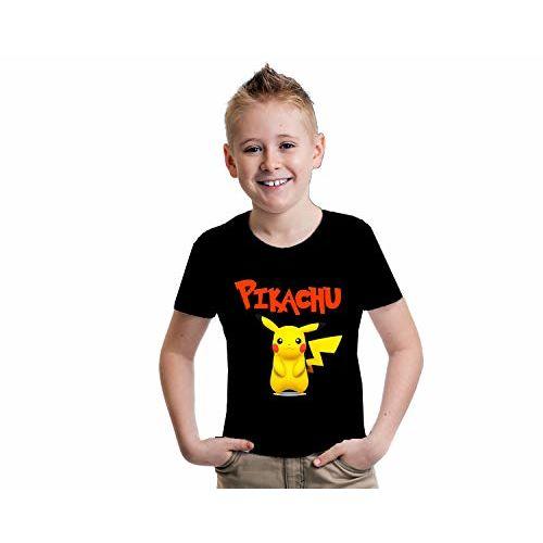 INDISSH Kids Boys and Girls/Cartoon Characters/Kungfu Panda/Pikachu Black T-Shirt