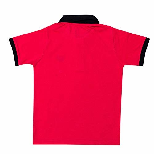 Hopscotch Pedley Boys Poly Cotton Solid Half Sleeve Polo T-Shirt in Coral Color for Ages 7-8 Years