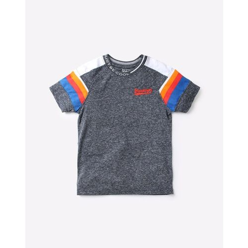 YB DNMX Crew-Neck T-shirt with Placement Striped Sleeves