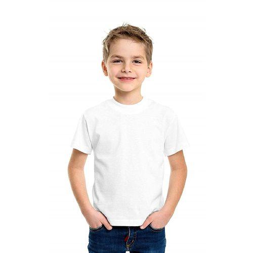 Boy's Girl's Regular Fit Half Sleeve Solid White Kids T-Shirt