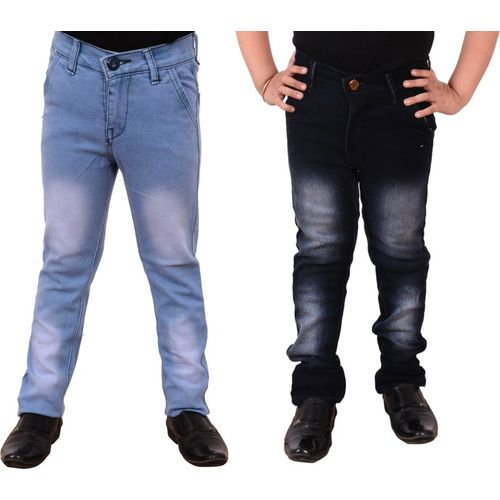 Guchu Slim Boys Black Jeans(Pack of 2)