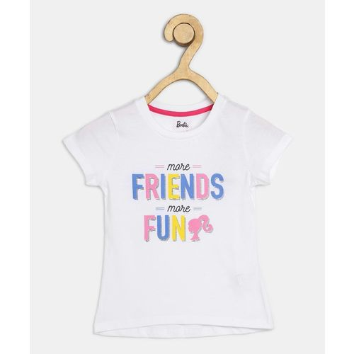 Barbie Girls Printed Pure Cotton T Shirt(White, Pack of 1)