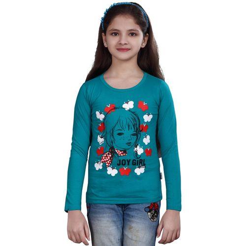 Sini Mini Girls Printed Cotton Blend T Shirt(Blue, Pack of 1)
