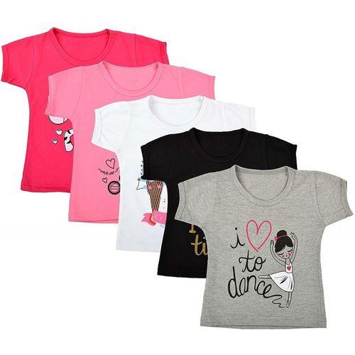 fasla Girls Printed Cotton Linen Blend T Shirt(Multicolor, Pack of 5)