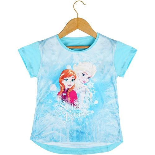 Icable Girls Printed Cotton Blend T Shirt(Blue, Pack of 1)
