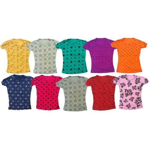 Manzon Girls Printed Cotton Blend T Shirt(Multicolor, Pack of 10)