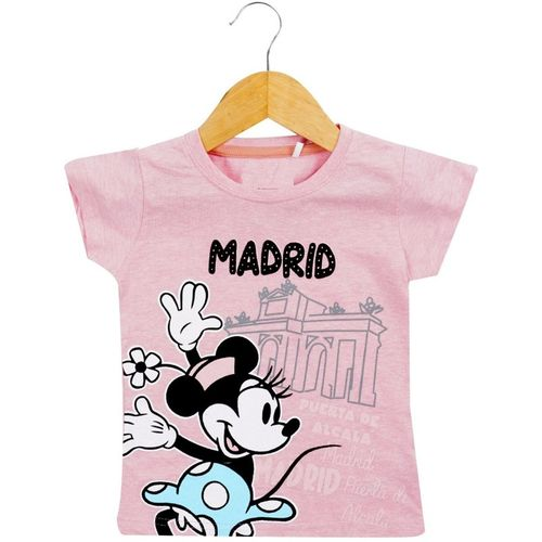 Icable Girls Printed Pure Cotton T Shirt(Pink, Pack of 1)