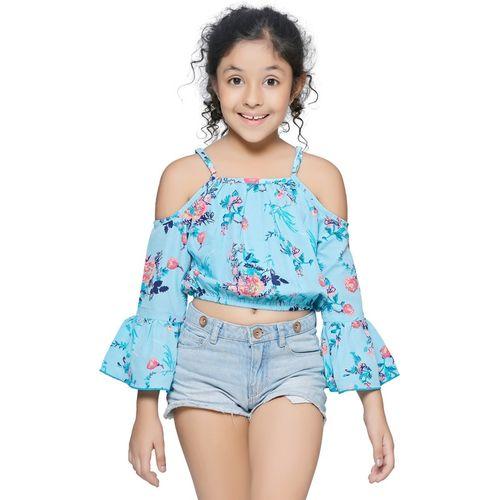 CUTIEKINS Girls Casual Polyester Fashion Sleeve Top(Light Blue, Pack of 1)