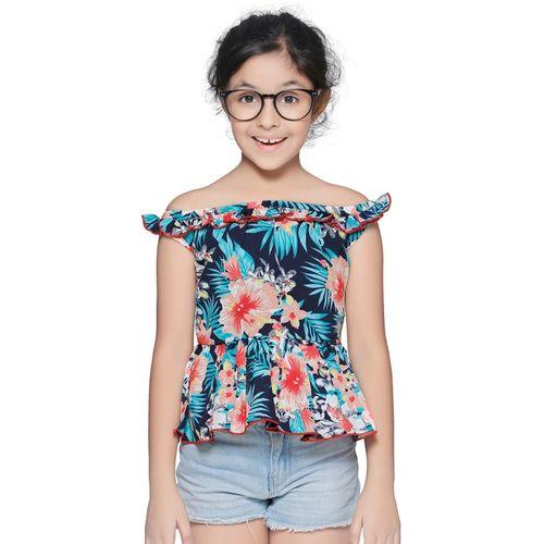 CUTIEKINS Girls Casual Polyester Fashion Sleeve Top(Green, Pack of 1)