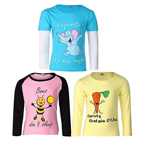 GOODWAY Girl's Animal Print Regular fit T-Shirts (JG3PCKFSLVCOL-DYK-3-3-4Years_Multi 3-4 Years)