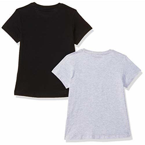 Amazon Brand - Jam & Honey Girl's Plain Regular fit T-Shirt (Pack of 2) (JHSS20GTSH103_Black + Grey Mel 8-9 Years)