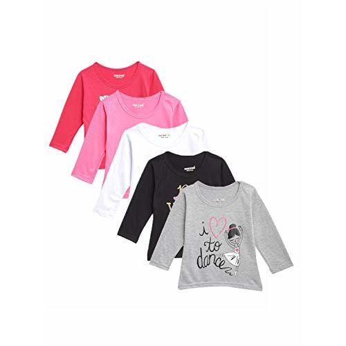 Kuchipoo Girls' Top (Pack of 5) (kuc-tshrt-119--5-6 years_Multicolored_5-6 Years)