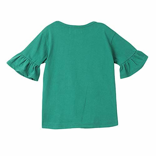 Hopscotch M'ANDY Girls Cotton Reversible Sequence Frill Half Sleeves Top in Green Color for Ages 2-3 Years