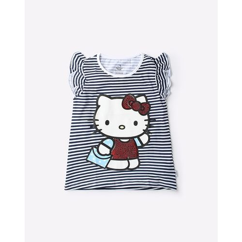 OTHER CHARACTERS Hello Kitty Striped Crew-Neck T-shirt