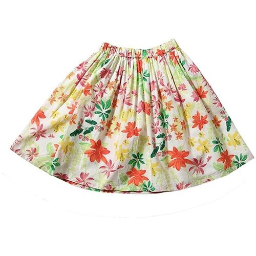 Tiddlywings Floral Print Girls Gathered White Skirt