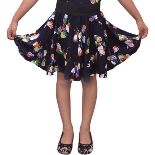 Grace Diva Floral Print Girls Gathered Blue Skirt