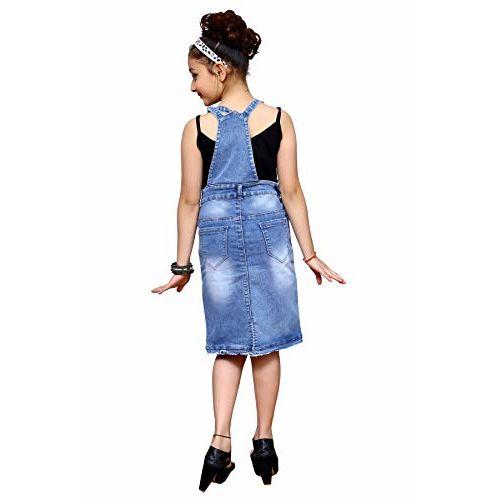 ELENDRA Girls Casual WEAR Slim FIT DANGRI Skirt (Light Blue, 12-13 Years)