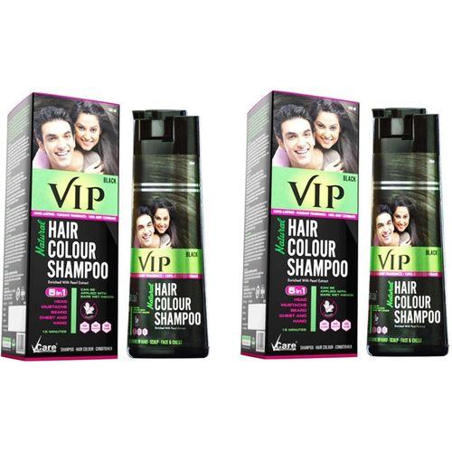 vip Natural Hair Colour Shampoo BLACK, Each 180ml, Pack of 2, Black