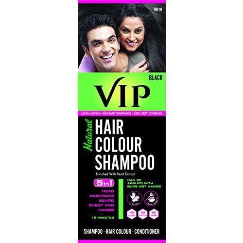 VIP NATURAL HAIR COLOUR SHAMPOO 180 ML, Black