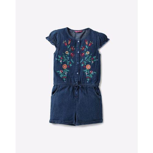 KG FRENDZ Floral Embroidered Denim Playsuit