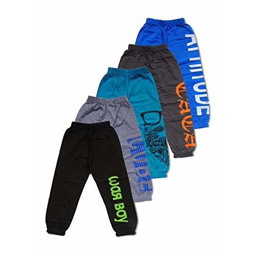 T2F Boys' Loose Fit Trackpants (Pack of 5) (T2F-BYS-TRK-S14-23_Multicolored_2-3 Years)