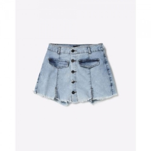 AJIO Denim Skort with Frayed Hems