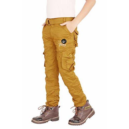 ADBUCKS Boys' Regular Fit Cargos (Boys_Pants_Gold_11-12 Years)
