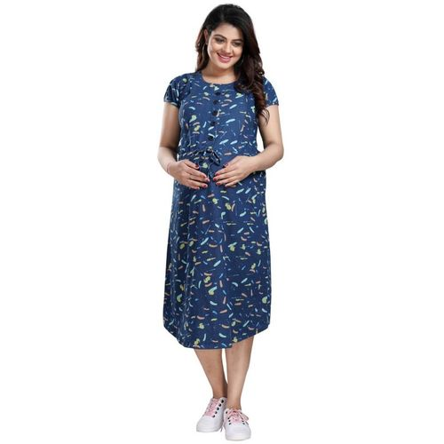 Mamma's Maternity Women A-line Blue Dress