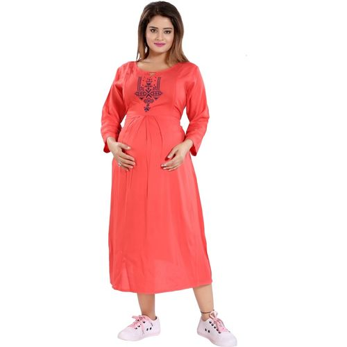 Mamma's Maternity Women Maxi Pink Dress
