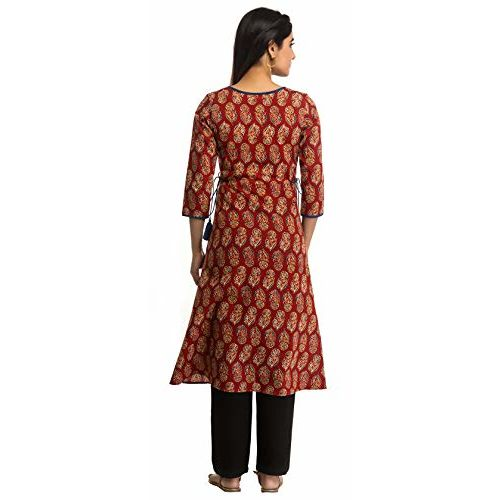 ANAYNA Women's Cotton Printed A-Line Maternity Kurta/Easy Breast Feeding/Breastfeeding Kurti/Ethnic Dress with Zippers for Nursing Pre and Post Pregnancy (Red,X-Large)