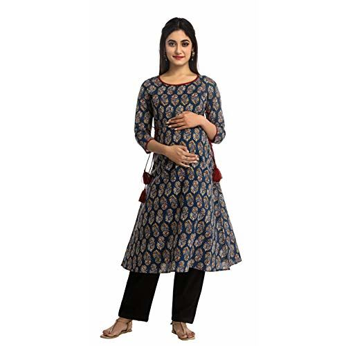 ANAYNA Women's Cotton Printed A-Line Maternity Kurta/Easy Breast Feeding/Breastfeeding Kurti/Ethnic Dress with Zippers for Nursing Pre and Post Pregnancy (Blue, Medium)