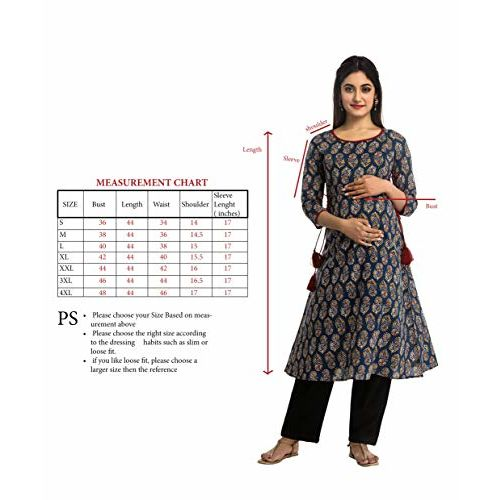 ANAYNA Women's Cotton Printed A-Line Maternity Kurta/Easy Breast Feeding/Breastfeeding Kurti/Ethnic Dress with Zippers for Nursing Pre and Post Pregnancy (Blue, Medium)