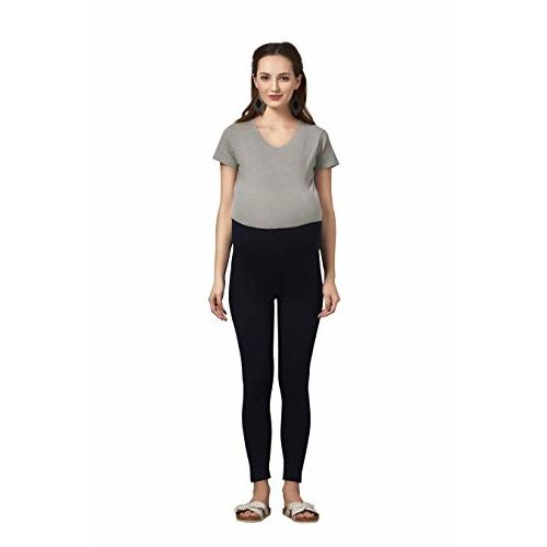EasyFeed Easy Feed Women's cotton Lycra Over the Belly Maternity Leggings for Pregnant Women for pre & post pregnancy (black, XL)