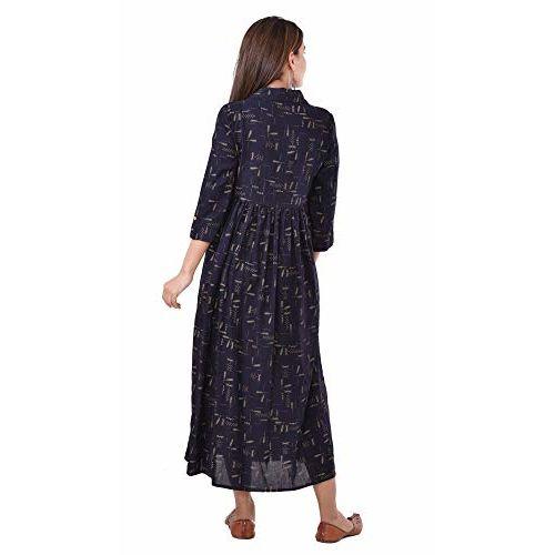 Negen Women's Rayon Printed Long Maternity Dress/Easy Breast Feeding/Breastfeeding Kurti/Ethnic Dress with Zippers for Nursing Navy Blue