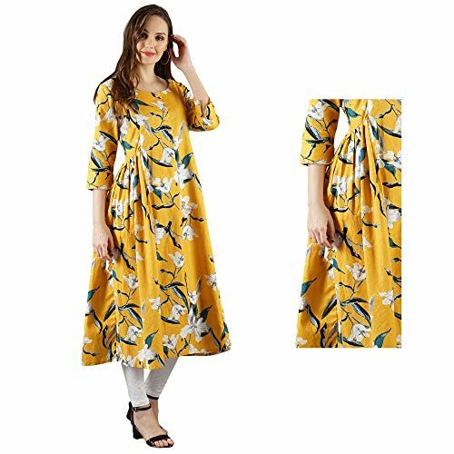 Diya Art Women's Rayon Maternity Dress/A-Line Kurta/Nursing/Easy Feeding Kurti with Zip for Pre and Post Pregnancy (M-38, Yellow)
