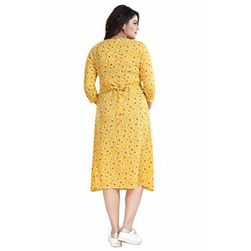 Mamma's Maternity Women's Yellow Printed Rayon Maternity/Feeding Dress (XX-Large,Yellow)