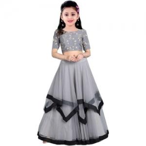 MF Retail Girls Lehenga Choli Ethnic Wear Embroidered Lehenga, Choli and Dupatta Set(Grey, Pack of 1)
