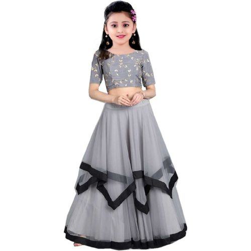 MF Retail Girls Lehenga Choli Ethnic Wear Embroidered Lehenga, Choli and Dupatta Set(Grey, Pack of 1)