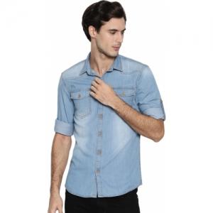 Ojass Men Self Design Casual Light Blue Shirt