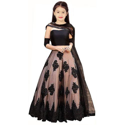 Piludi Girls Lehenga Choli Ethnic Wear Embellished Ghagra, Choli, Dupatta Set(Black, Pack of 1)