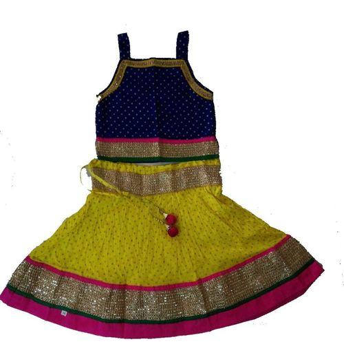 kurtiskirts Baby Girls Lehenga Choli Party Wear, Ethnic Wear, Western Wear, Fusion Wear Polka Print Lehenga Choli(Blue, Pack of 1)