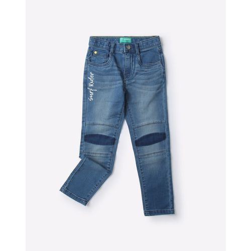 KB TEAM SPIRIT Lightly Washed Jeans with Biker Panels