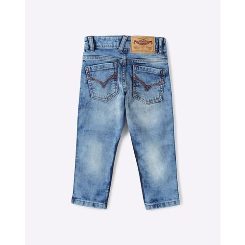 FLYING MACHINE KIDS Distressed Skinny Jeans with Side Taping
