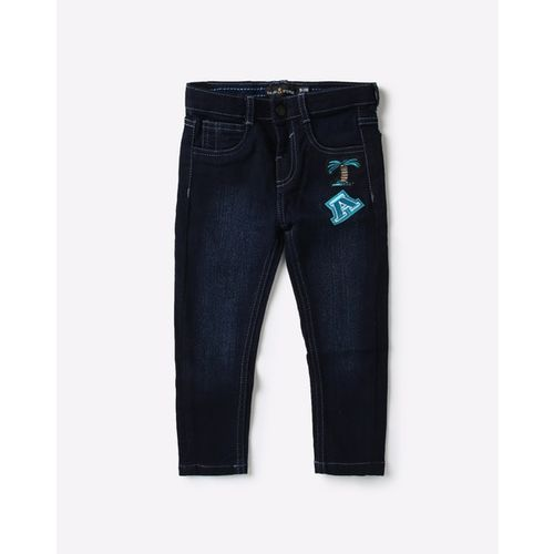 TALES & STORIES Lightly Washed Slim Fit Jeans with Placement Applique