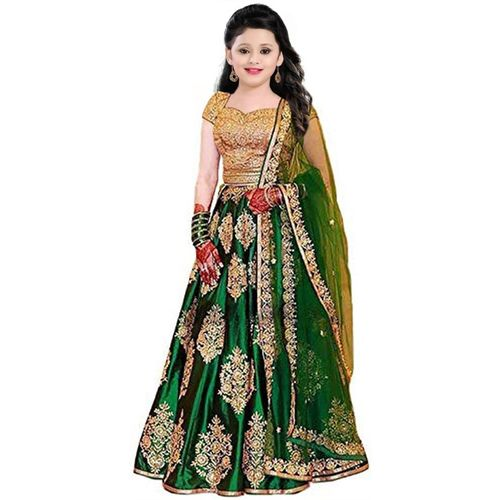 piludi Girls Lehenga Choli Ethnic Wear Embroidered Lehenga, Choli and Dupatta Set(Green, Pack of 1)