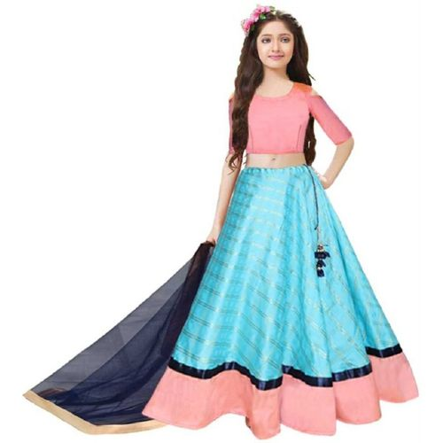 Classy Vouge Girls Lehenga Choli Ethnic Wear Embroidered Lehenga, Choli and Dupatta Set(Light Blue, Pack of 1)