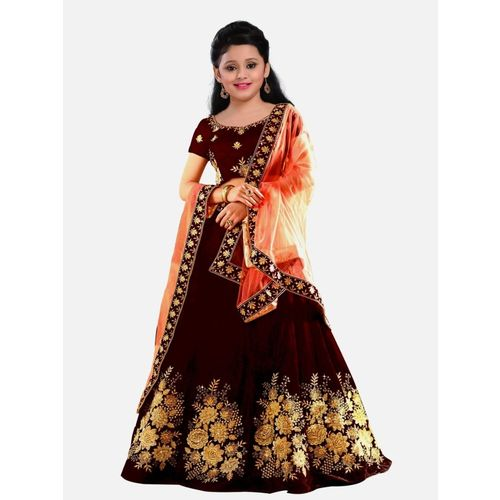 WTWC FAB Girls Lehenga Choli Party Wear, Ethnic Wear, Fusion Wear Embroidered Lehenga, Choli and Dupatta Set(Maroon, Pack of 1)