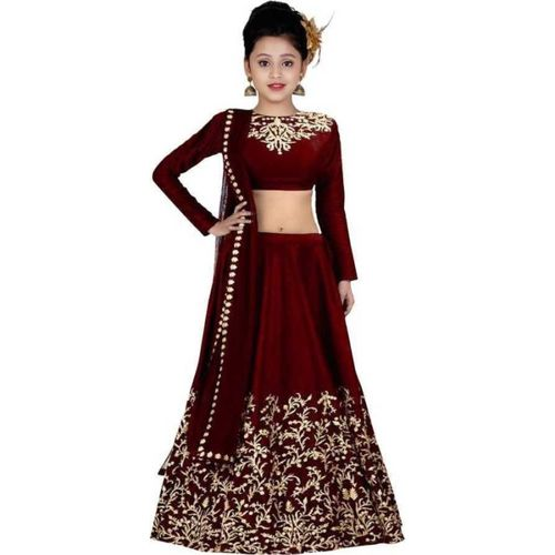 Piludi Girls Lehenga Choli Ethnic Wear Embroidered Lehenga, Choli and Dupatta Set(Maroon, Pack of 1)