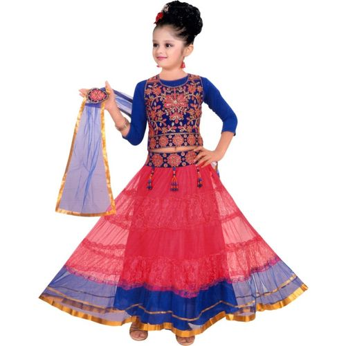 Sky Heights Girls Lehenga Choli Ethnic Wear Embroidered Lehenga Choli(Multicolor, Pack of 1)